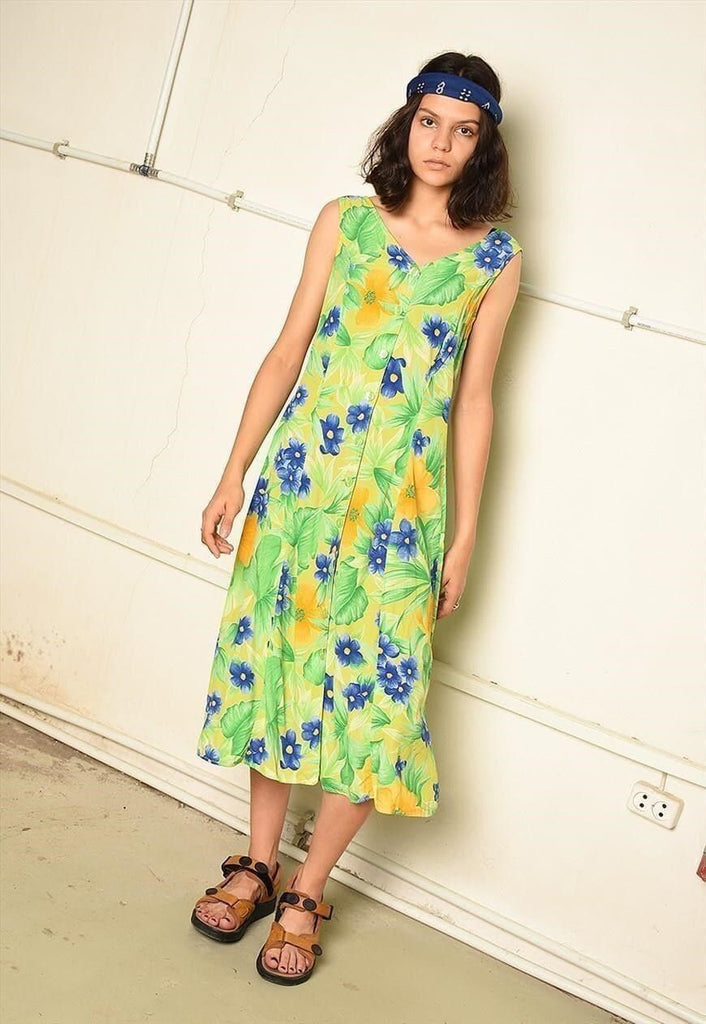90's retro floral print summer midi festival dress