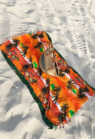 Vintage 90s fringed palm print rave large beach sarong