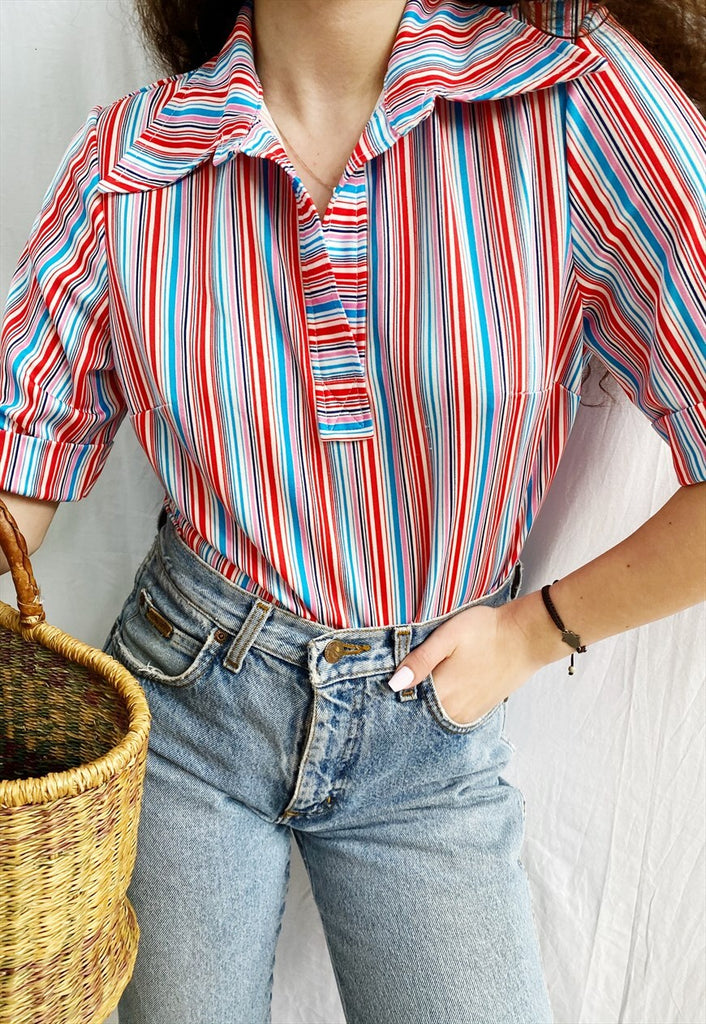 Vintage 70s Striped Candy Mod Haute Boheme blouse top