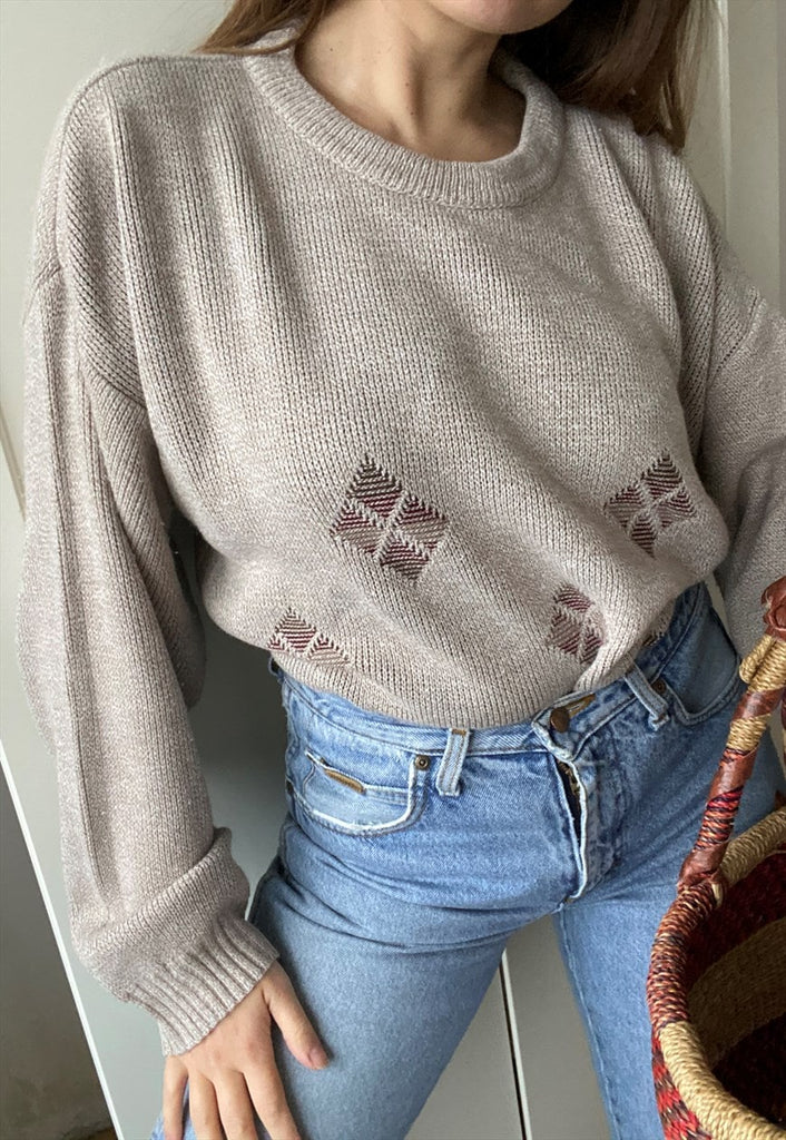 Vintage 80s Abstract Knit jumper sweater pullover
