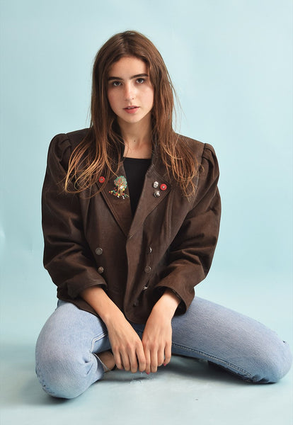 80's retro brown faux genuine leather biker jacket top