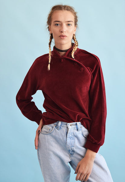 80's retro maroon velveteen sweatshirt jumper top
