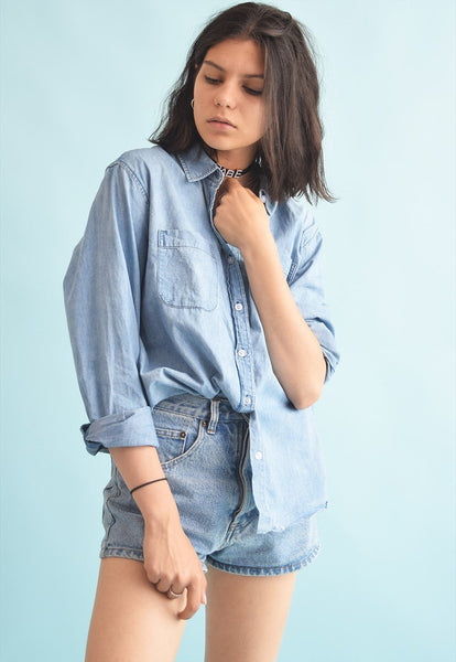 90's retro festival customized denim distressed shirt top