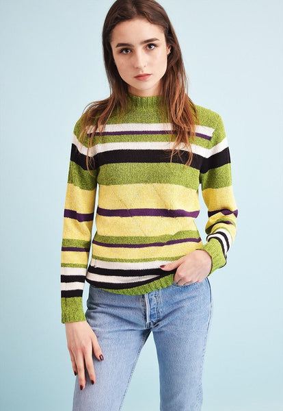 90's retro striped knitted teen jumper top