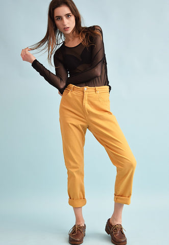 90's retro regular waist mustard yellow denim jeans
