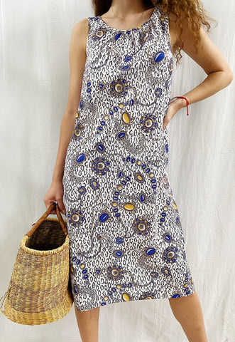 Vintage 70s Mod Jewel & Chain print Boheme chic maxi dress