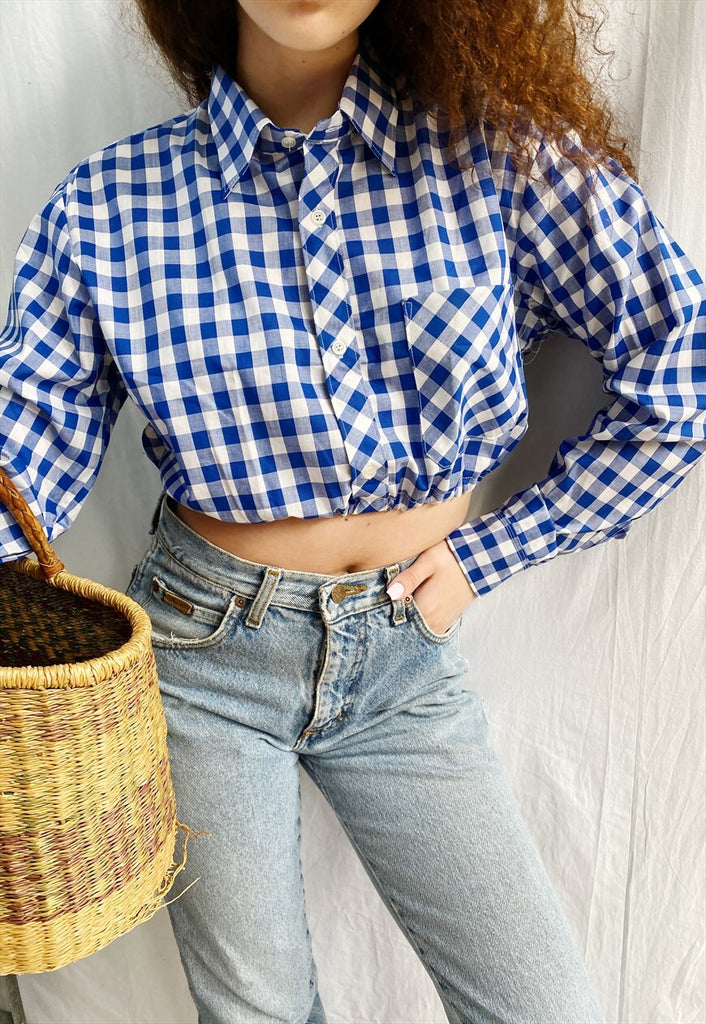 Vintage 70s Gingham check Reworked Milkmaid blouse crop top