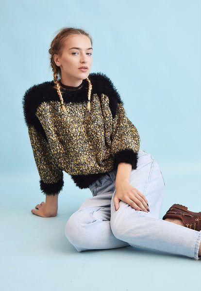 80's retro jazzy shimmer knit fluffy furry jumper