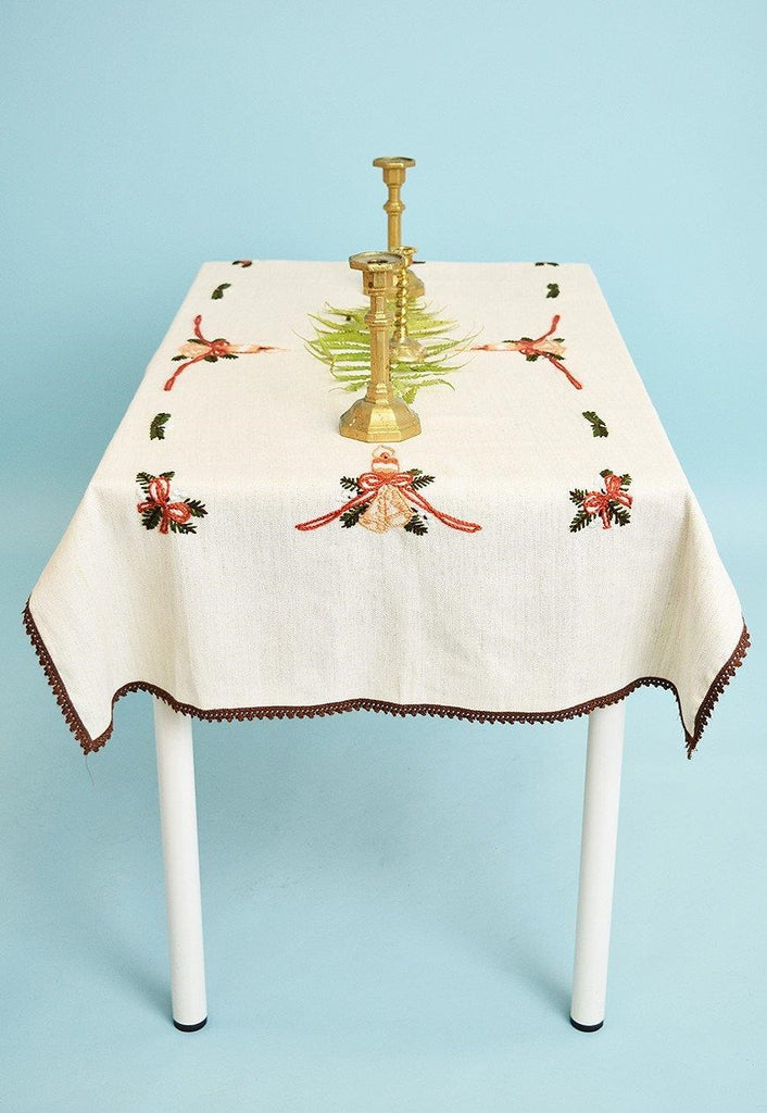 Vintage 70's Christmas faux linen hand embroidered tableclot