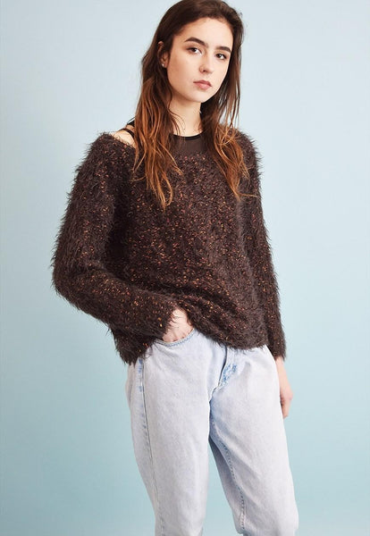 90's retro jazzy fluffy knit teen jumper top