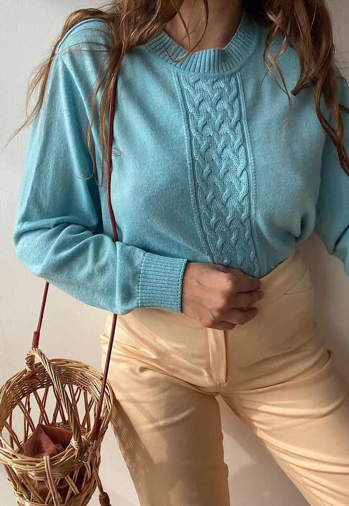 Vintage 80s Textured Mod pattern knit jumper sweater