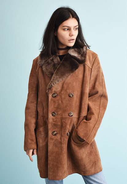 70's retro real suede & faux fur detailed shearling coat