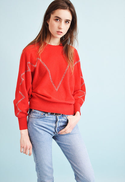 80's retro knit oversized Moms jumper top