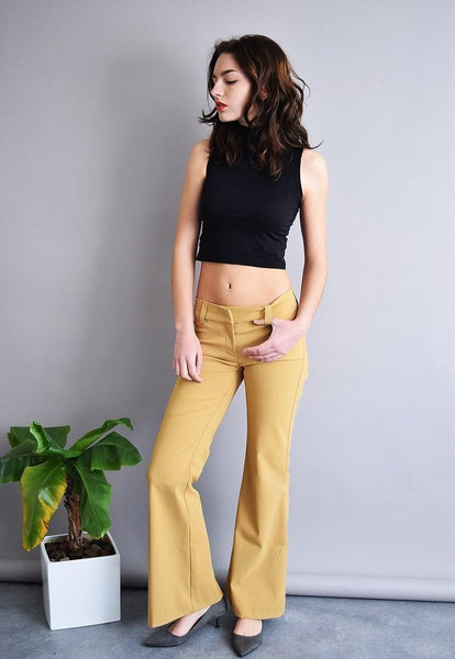 90's goes 70's retro light brown minimalist flare trousers