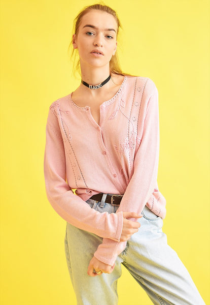90's retro pastel knit oversized Moms cardigan top