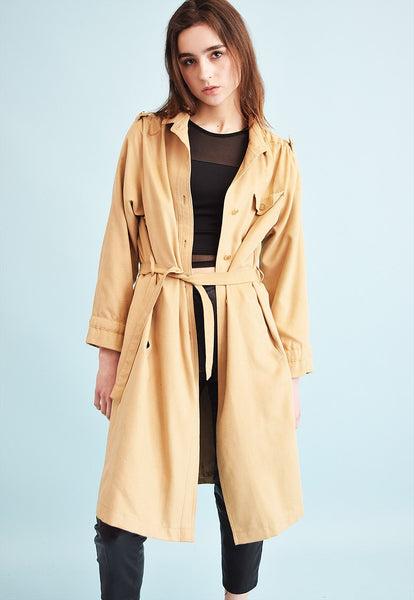 70's retro classic cut faux suede neutral trench coat