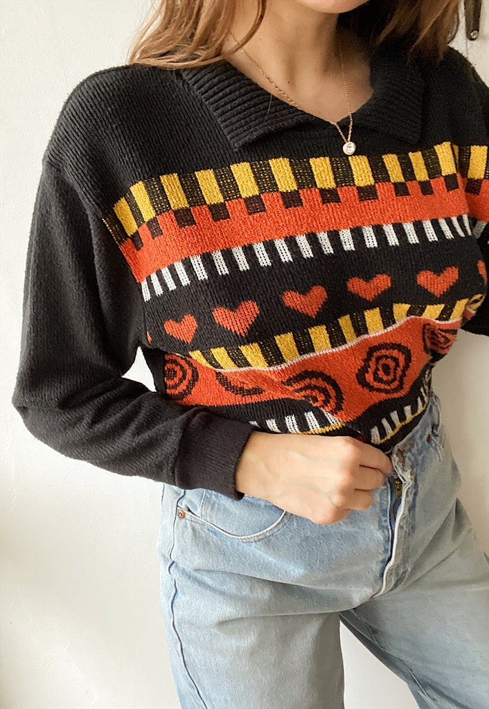 Vintage 80s abstract knit Boho hippie jumper pullover