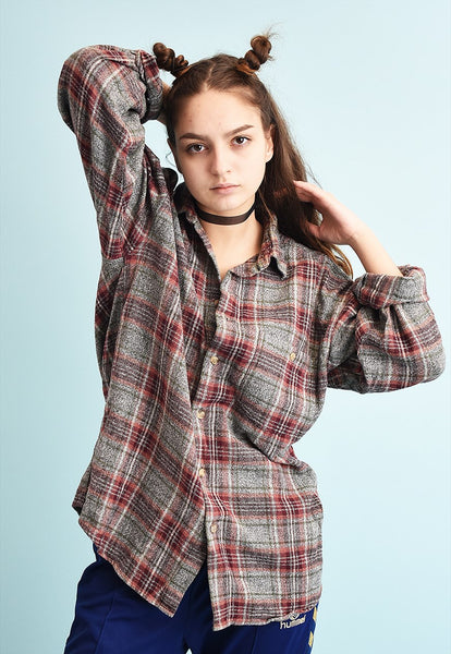 90's retro tartan checked oversized workwear shirt top