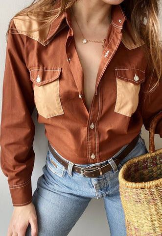 Vintage 70s Texas Western Boho chic shirt top blouse brown