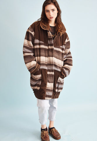 90's oversized ethnic wool & corduroy jacket coat