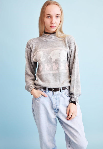90's retro animal pattern neutral knit jumper top