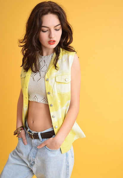 90's retro festival acid wash customized denim gilet top