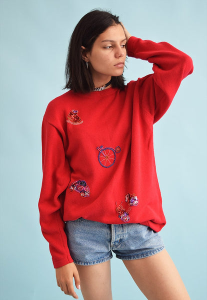 80's retro knit beaded Moms oversized jumper top