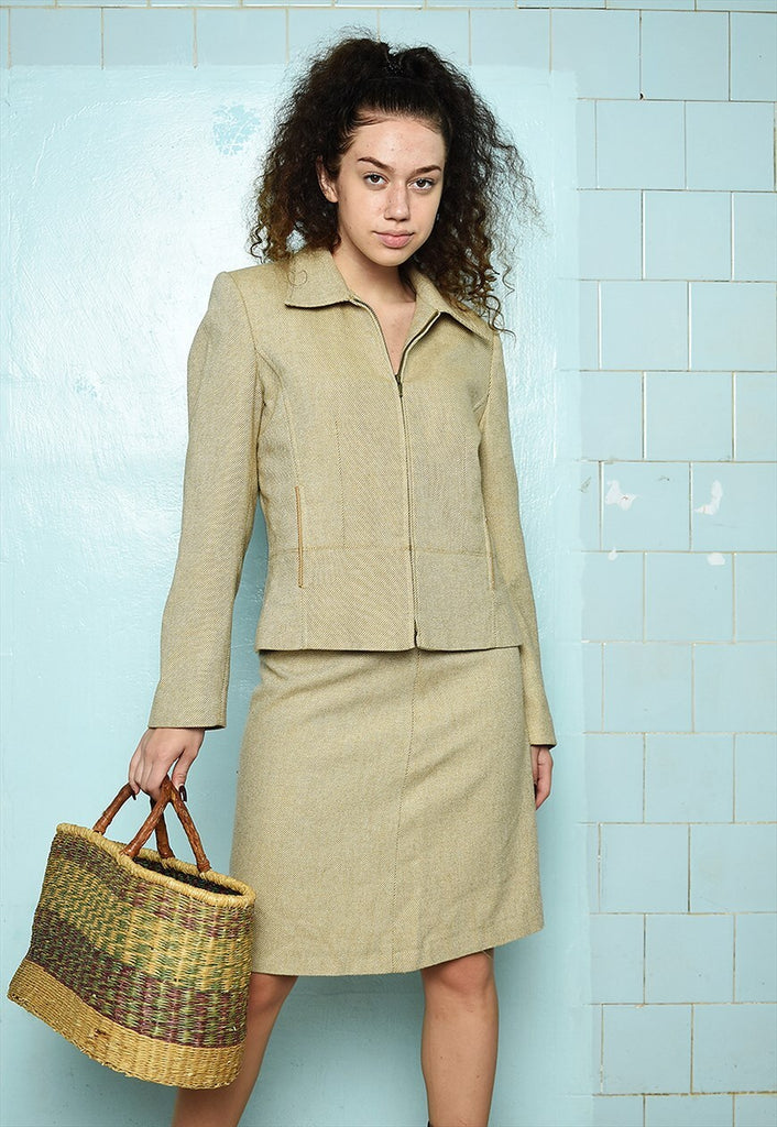 Vintage 90s classy wool tweed co-ord two piece suit set