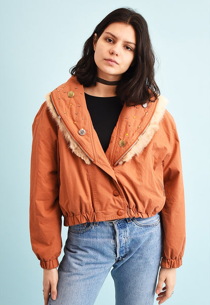 80's retro faux fur detailed puffer crop jacket