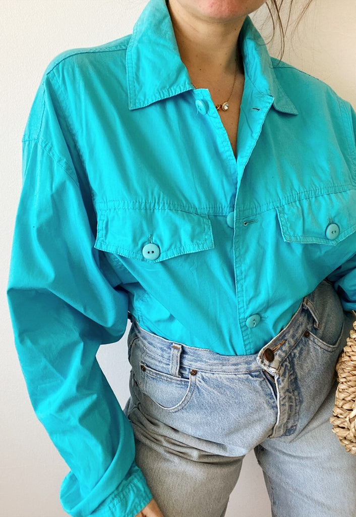 Vintage 80s Candy Turquoise Bomber cotton jacket windbreaker