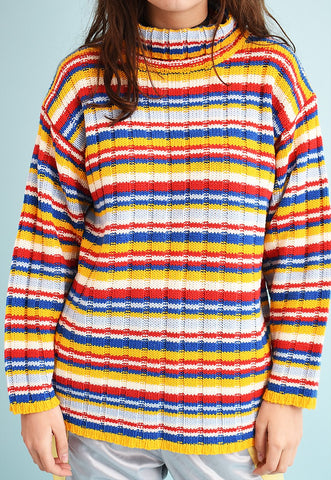90's retro striped pattern roll neck knit jumper
