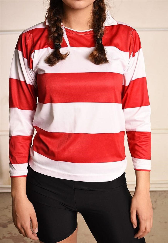 90's retro striped athleisure varsity jersey top