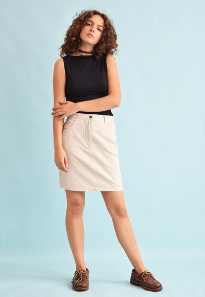 90's retro neutral high waist denim mini skirt