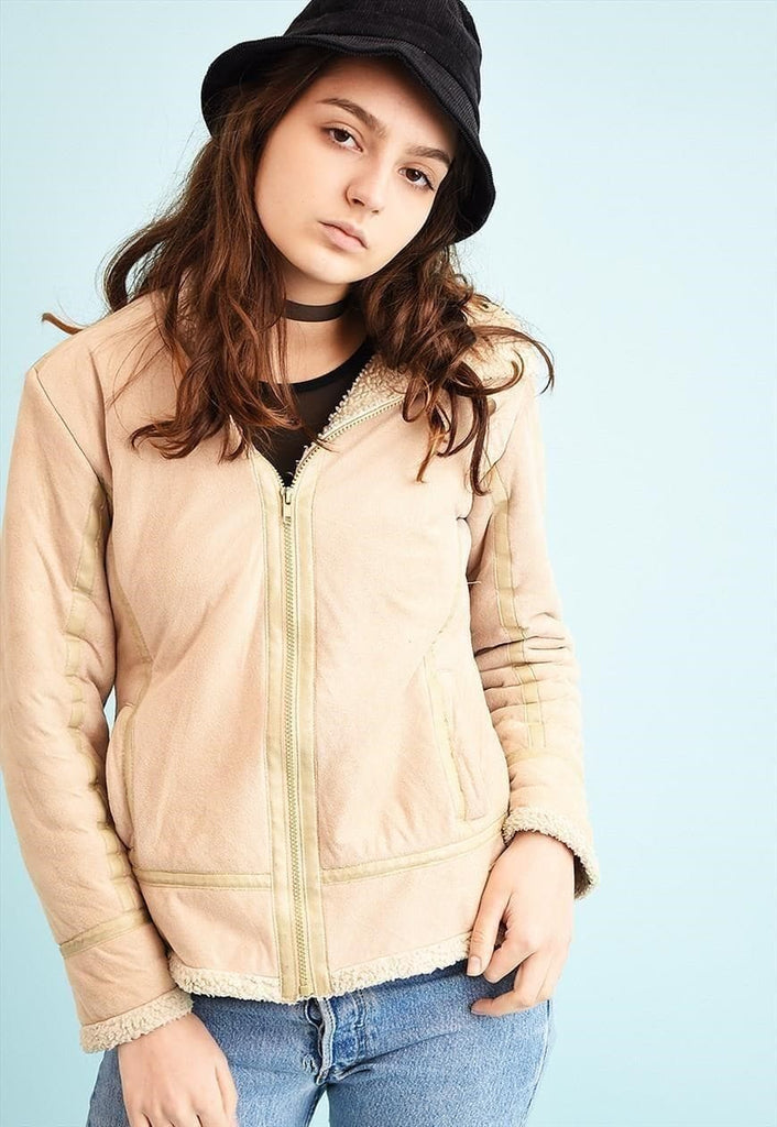 Y2K faux fur detailed neutral teen jacket
