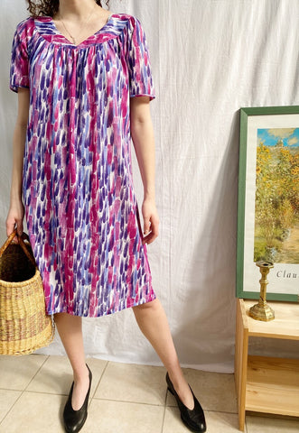Vintage 70s Mod Revival brush stroke midi swing Boho dress