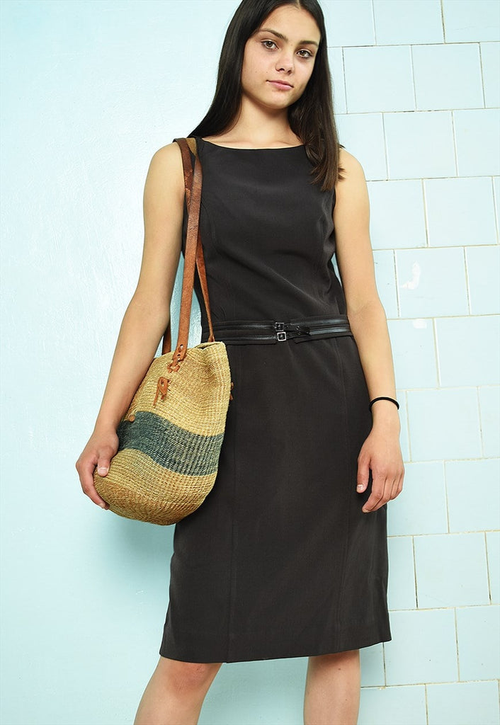 Vintage Y2K 90s minimalist mini smart day dress brown