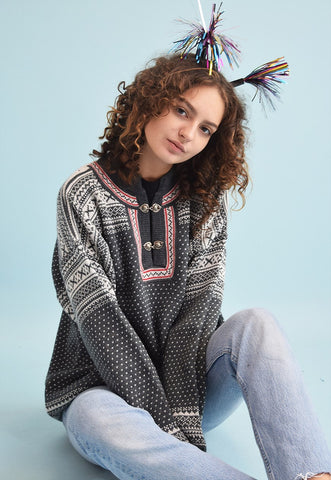 90's retro Nordic Fair Isle oversized Christmas jumper