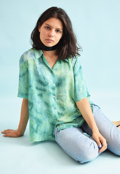 90's retro tye-dye sheer loose-fitted blouse top