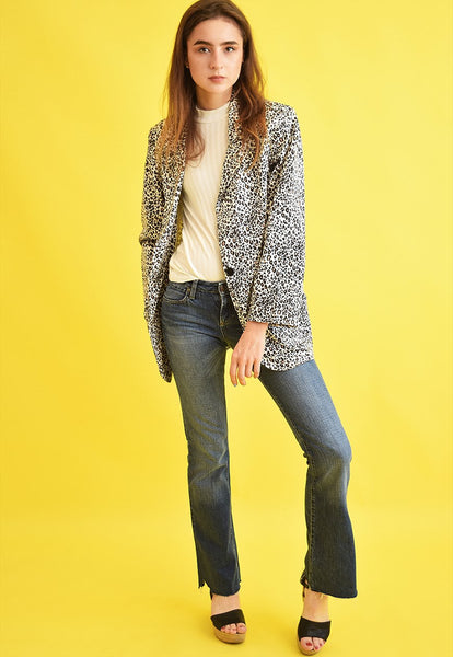 90's retro classic cut animal print denim jacket blazer