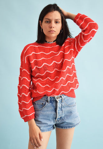 Vintage 70's retro handknitted festival oversized jumper top