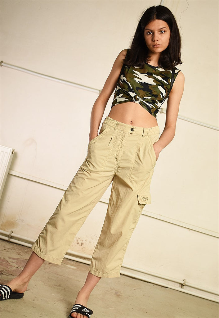 Y2K regular waist short cut cargo capri trousers