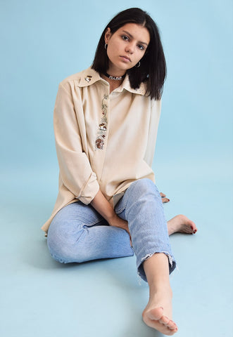 90's retro festival embroidery oversized neutral shirt top