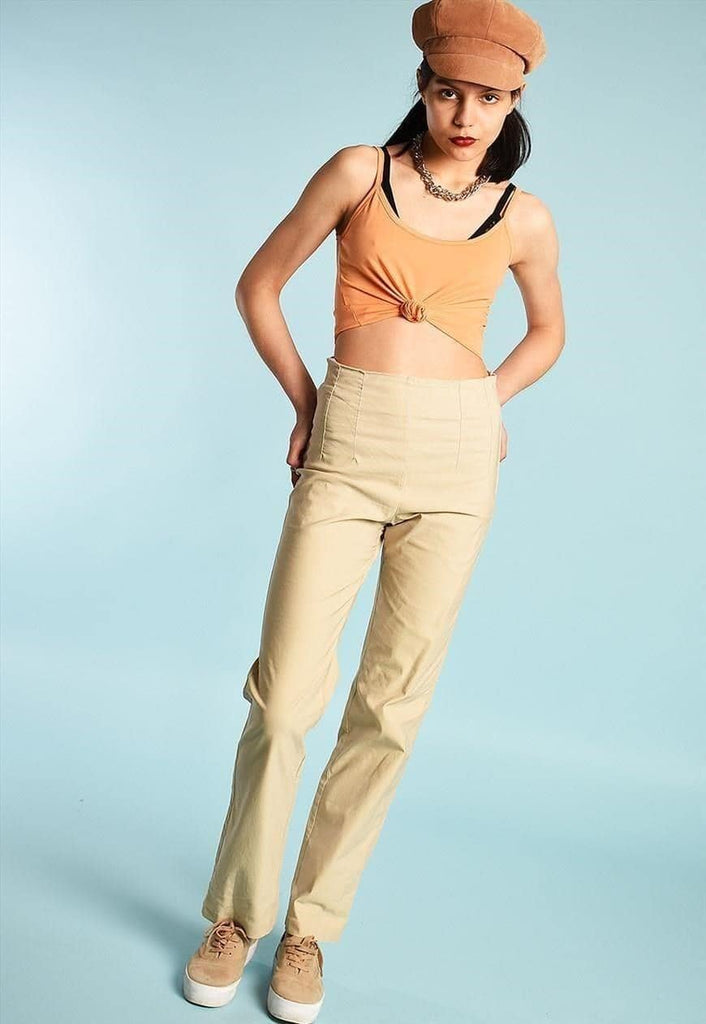 Y2K stretch high waist stright trousers