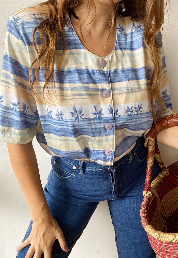 Vintage 80s Tropicana Palm print Boho blouse top