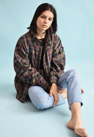 90's retro oversized checked Dads bomber jacket top