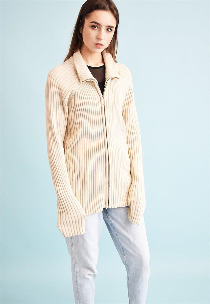 90's retro neutral ribbed knitted long cardigan top