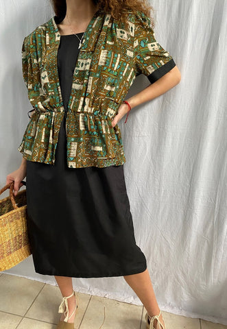 Vintage 80s Paisley print midi dress black Parisian chic