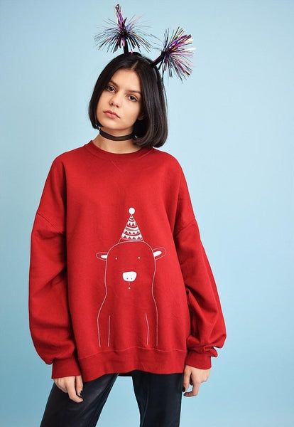 Vintaholic Christmas bear deep red sweatshirt Jumper