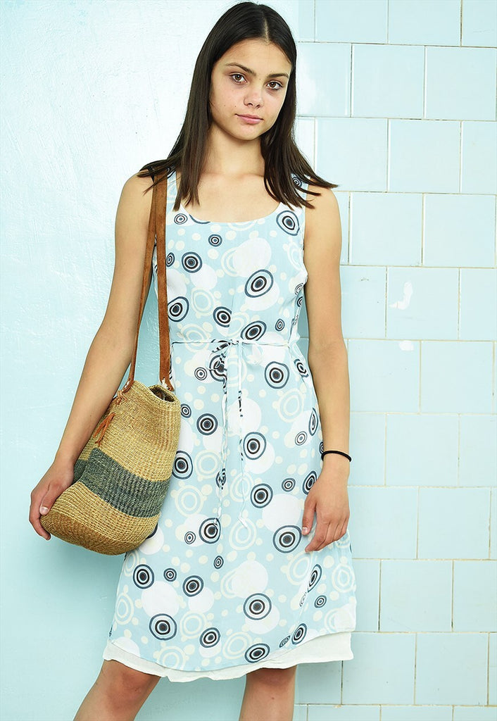 Vintage 90s abstract Mod print festival summer mini dress