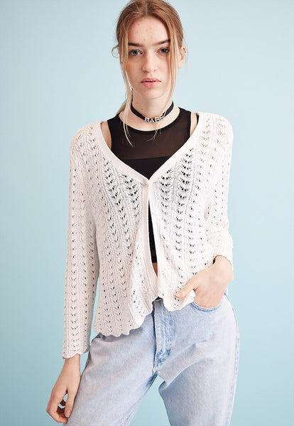 90's retro neutral sheer knit Moms cardigan top